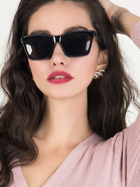 Black Textured Frame Square Sunglasses