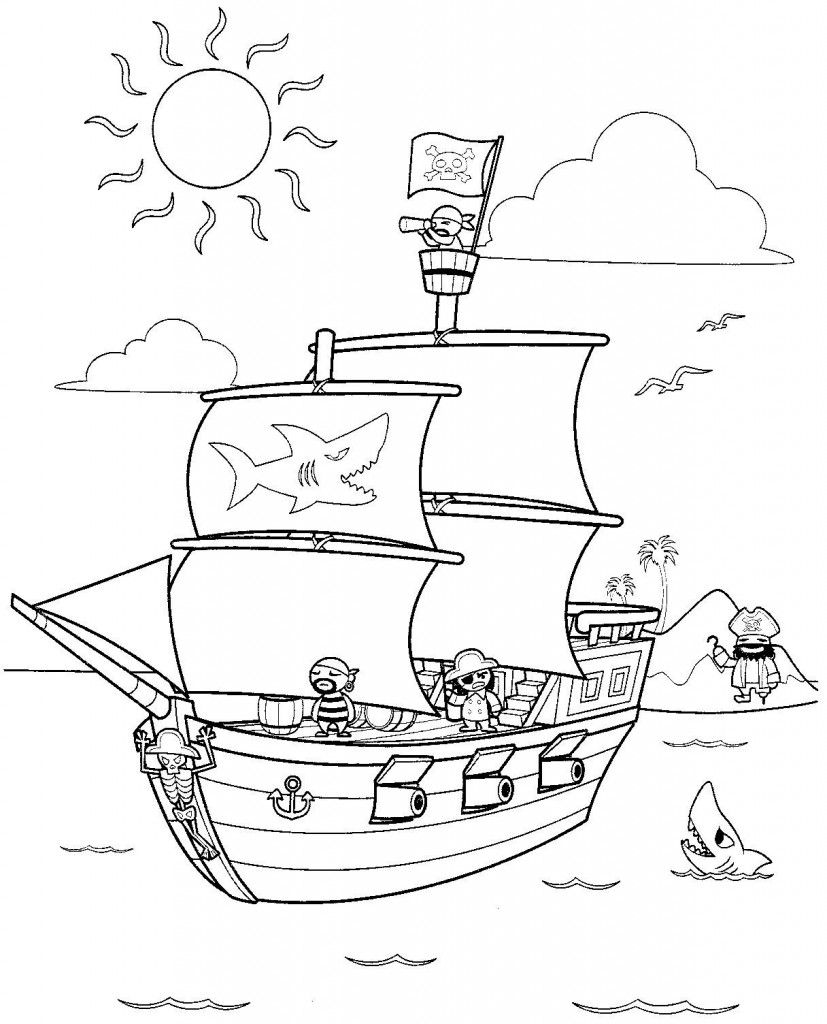 Free Printable Pirate Coloring Pages For Kids Pirate Coloring Pages Ship Coloring Pages Boat Coloring Page