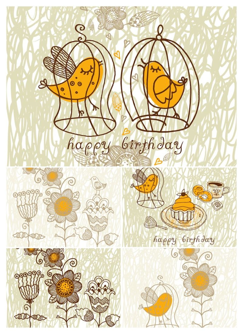 Cute Greeting Card Templates Vectorg 8001100 Proiecte De