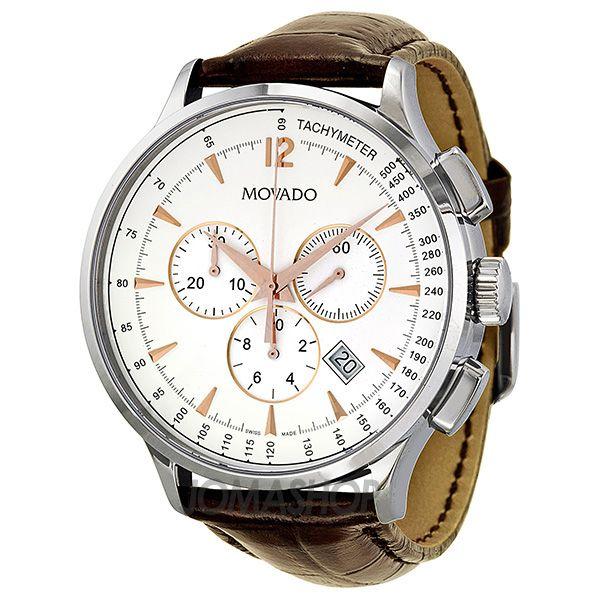 movado circa chronograph white dial brown leather strap men s movado circa chronograph white dial brown leather strap men s watch