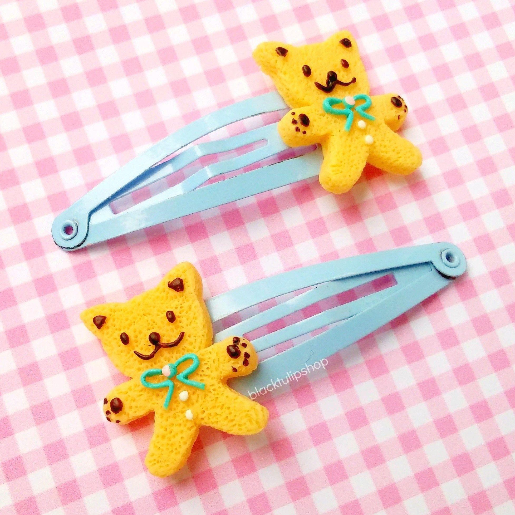 Sale 2pc Kawaii Hair Clip Set Sugar Cookies Cute Bear Cookie Clips Hair Barrettes For Children Kawaii Hair Clips Kawaii Hairstyles Kawaii Hair Accessories