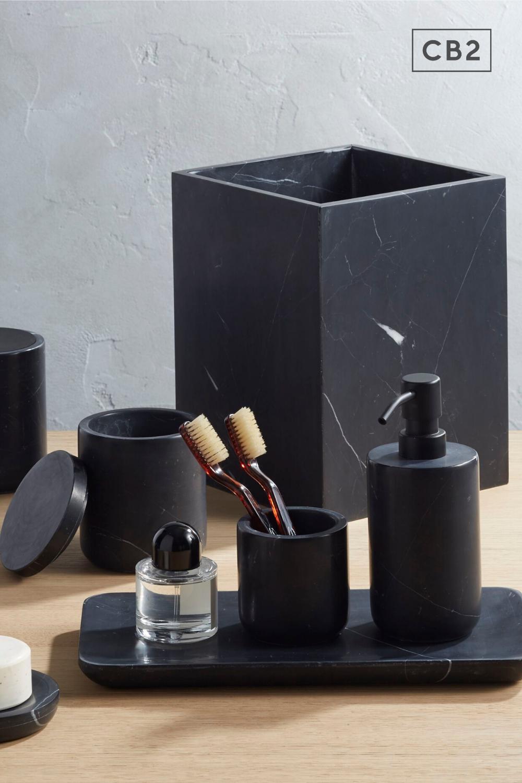 Nexus Black Marble Bath Accessories Cb2 In 2020 Modern Bathroom Accessories Black Bathroom Accessories Marble Bath