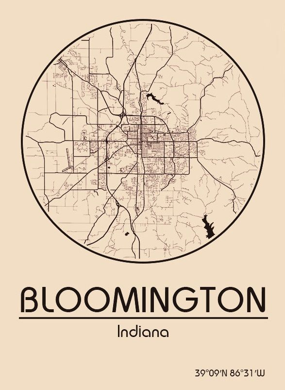 Karte Map Bloomington Indiana Vereinigte Staaten von Amerika