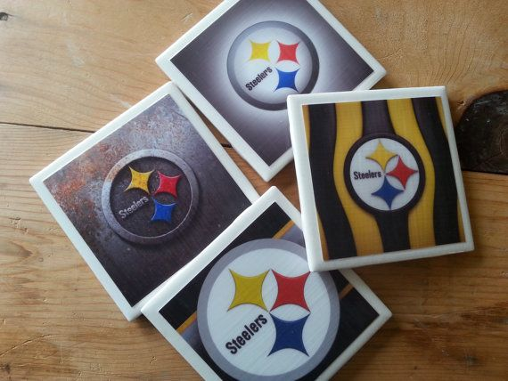 Set of 4 Pittsburgh Steelers Coasters by ManCaveQuilts1 on Etsy