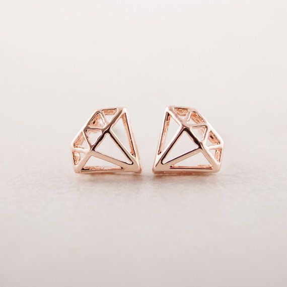 Diamond Shaped Stud Earrings In Pink Gold By Bkandjio On Etsy