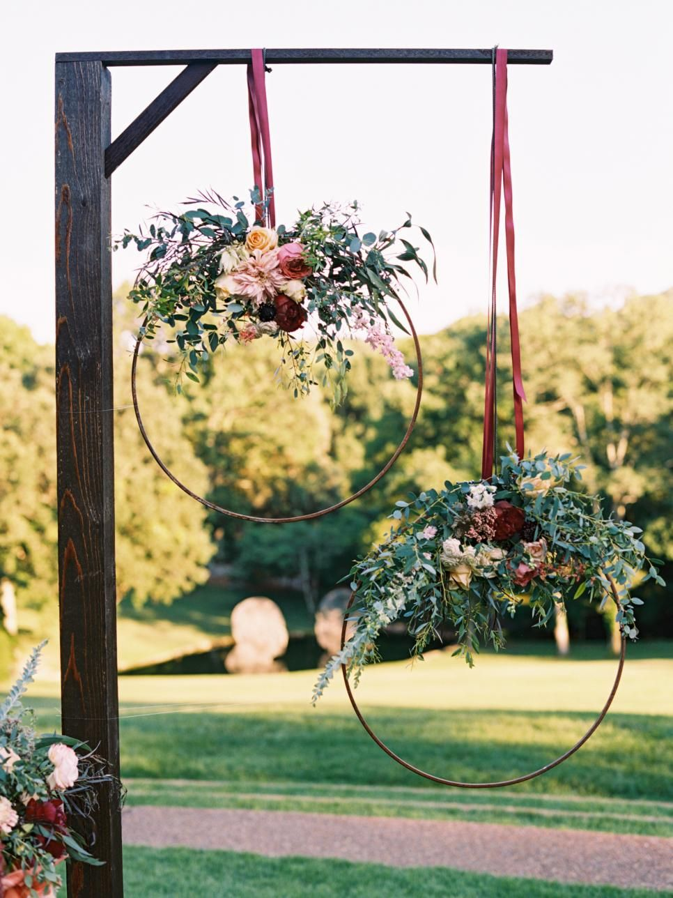 Diy hula hoop wedding decorations   DIY Wedding Arbors Altars u Aisles  Floral arch Backdrops and Arch