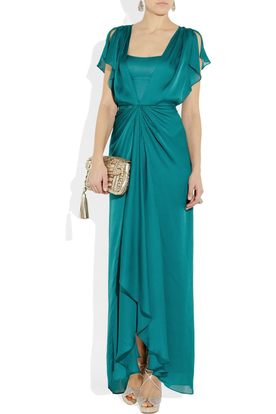 Mother of the Bride Dress Idea: Venus Waterfall Teal Silk Dress by ...