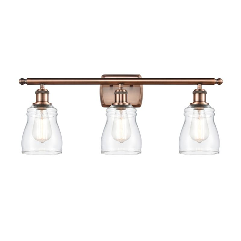 "Photo of Innovations Lighting 516-3W Ellery Ellery 3 Light 26 ""Wide Bathroom Basin Light Antique Copper / Clear Interior Lighting Bathroom Lights Basin Light"