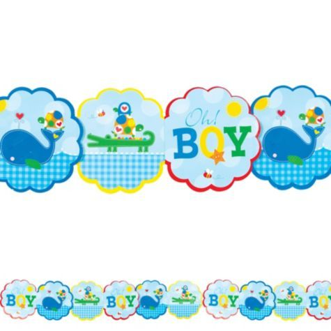 Ahoy Baby Boy Printed Garland - Party City | Baby favors ...