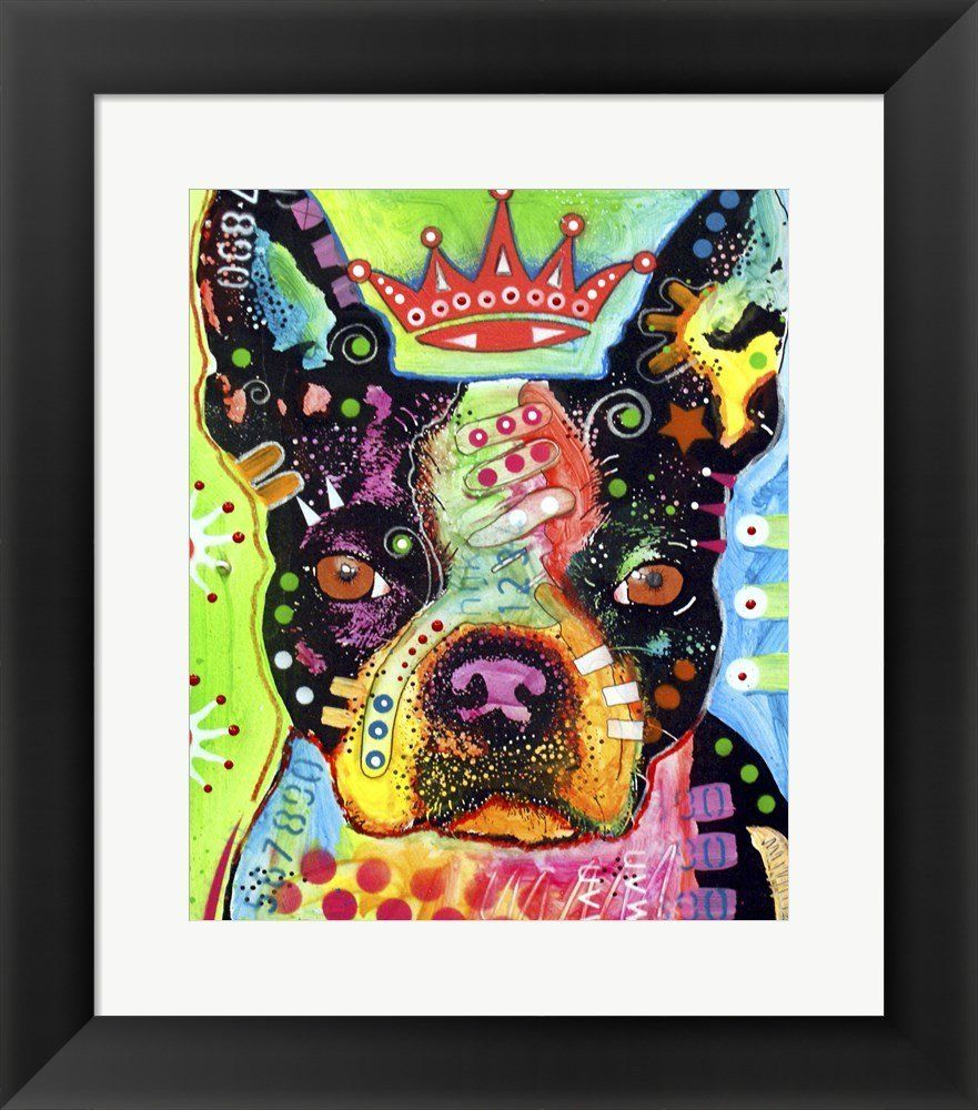Boston terrier crowned by dean russo framed art print wall picture
