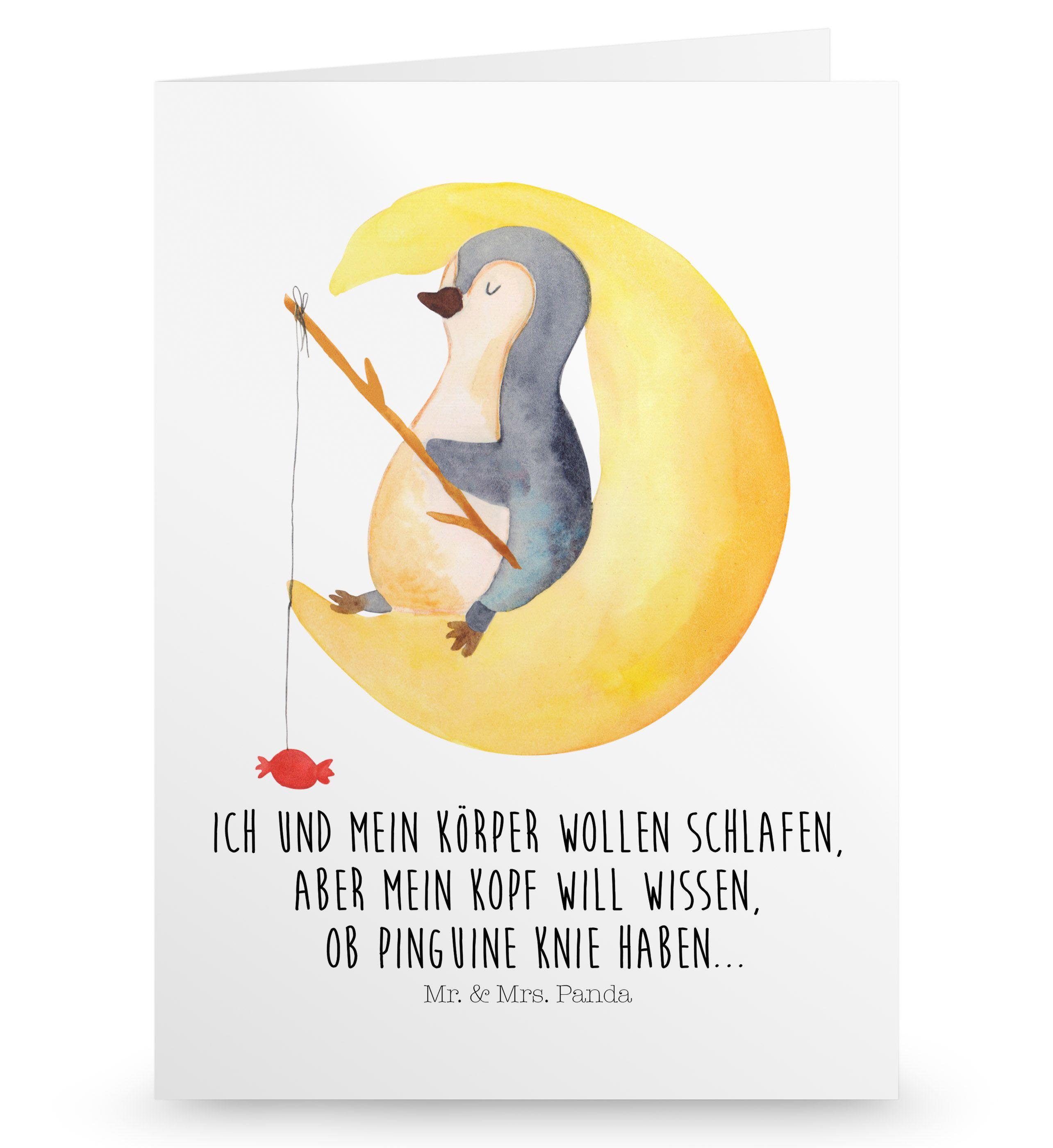 Grußkarte Pinguin Mond aus Karton 300 Gramm  weiß - Das Original von Mr. & Mrs. Panda.  Die wunderschöne Grußkarte von Mr. & Mrs. Panda im Format Din Hochkant ist auf einem sehr hochwertigem Karton gedruckt. Der leichte Glanz der Klappkarte macht das Produkt sehr edel. Die Innenseite lässt sich mit deiner eigenen Botschaft beschriften.    Über unser Motiv Pinguin Mond      Verwendete Materialien  Diese wunderschöne Produkt aus edlem und hochwertigem 300 Gramm Papier wurde matt glänzend bedruckt