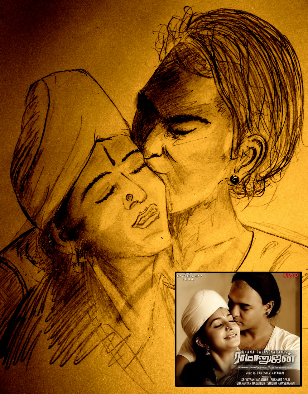 Pencil sketch of abhinay vaddi and bhama in ramanujan movie ராமானுஜன் படத்தி