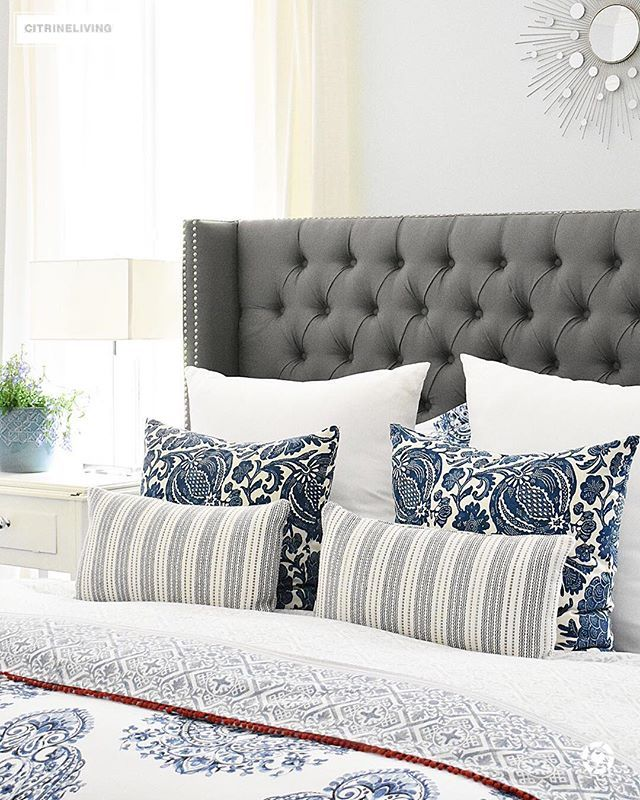 Blue And White Summer Decorated Bedroom With Layers Of Bold Pattern    Batik, Stripes And Paisley   Bring A Casual, Coastal Look. Upholstered  Headboard With ...