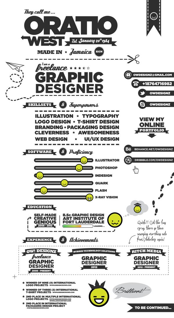 21個超酷的視覺創意履歷表 插畫生活 Illustration Today - graphic design resume examples 2012