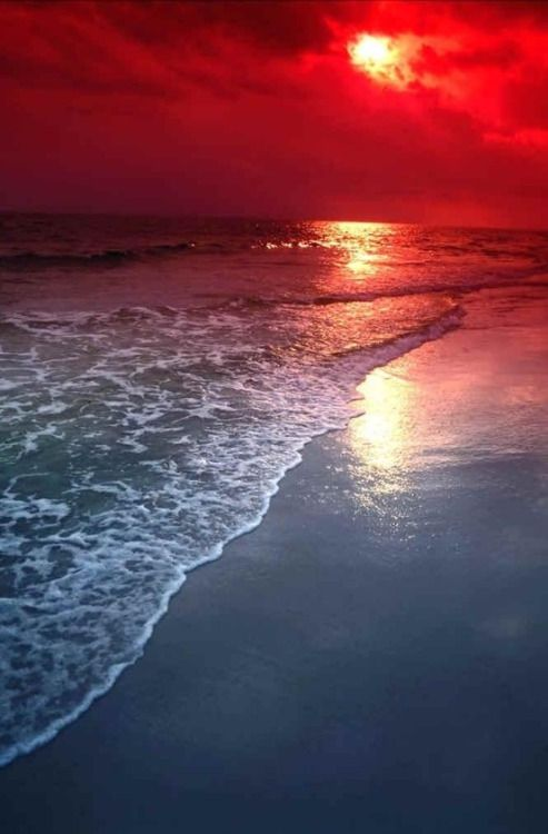 Red Landscape Water Nature Beach Sand Ocean Scenery Wave Sunset Vertical Mposts Disminucion Beautiful Nature Beautiful Landscapes Beautiful Sunset