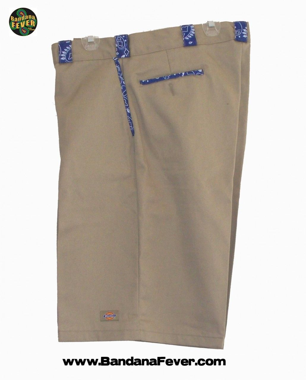 Bandana Fever - - Bandana Fever Custom Bandana Dickies Shorts Khaki/Royal  Blue Bandana,