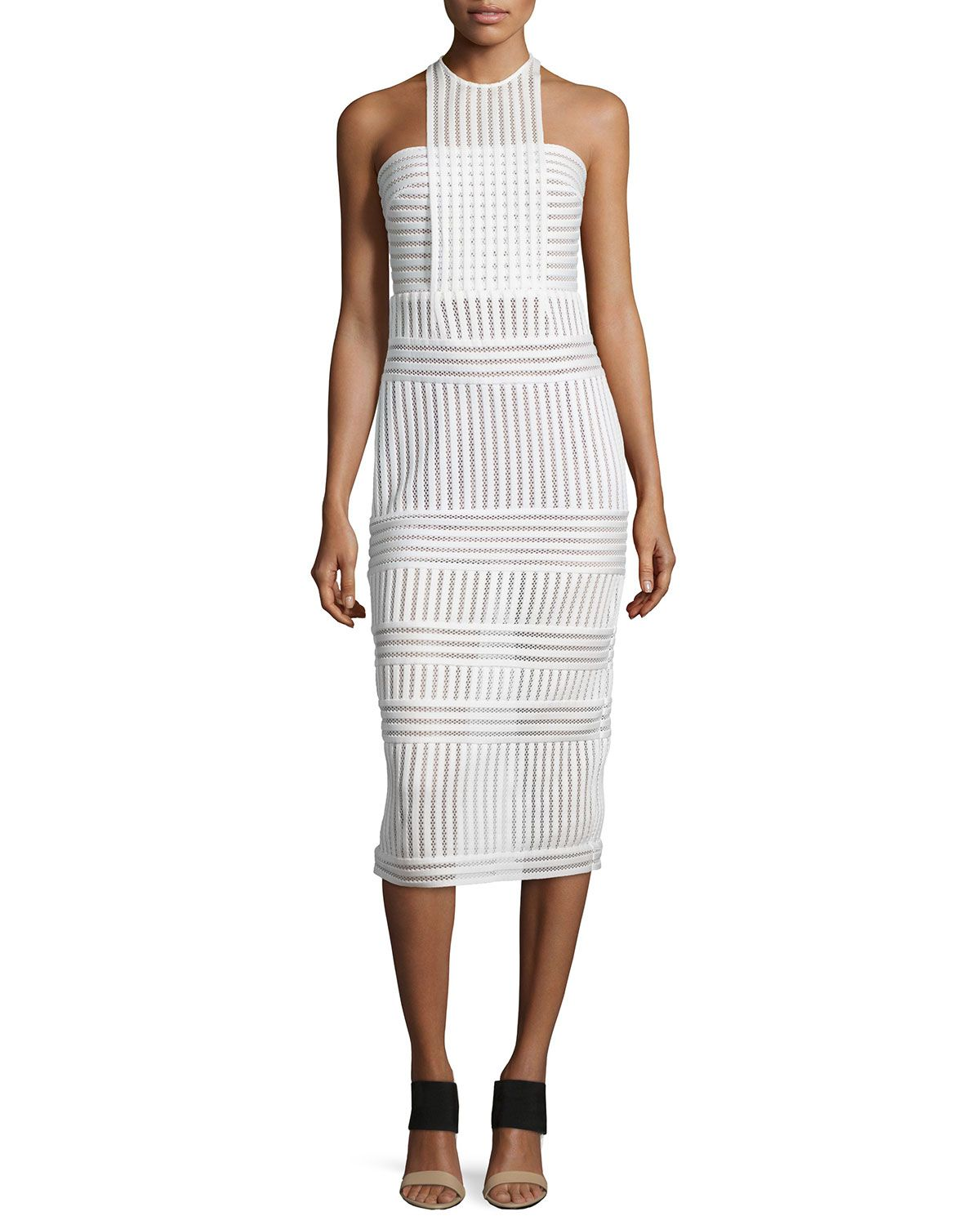 Mini white wedding dress  Striped MeshKnit Midi Sheath Dress White Size   Clothing