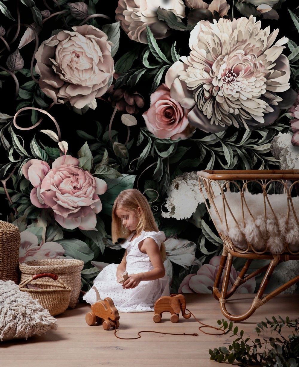Dark Dutch Floral Wallpaper Mural in 2020 Floral
