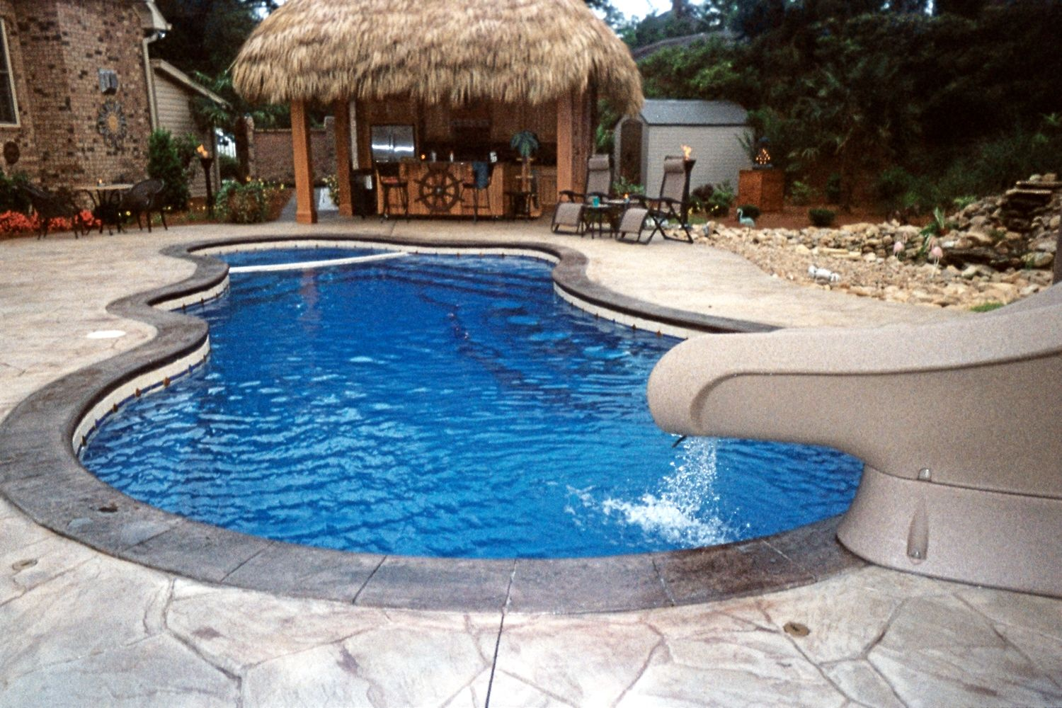Fiberglass Pool Ideas fiberglass swimming pool with attached spa and cool decking Find This Pin And More On Home Design Ideas With Pictures Swiming Pools Whitsunday Fiberglass Swimming Pool