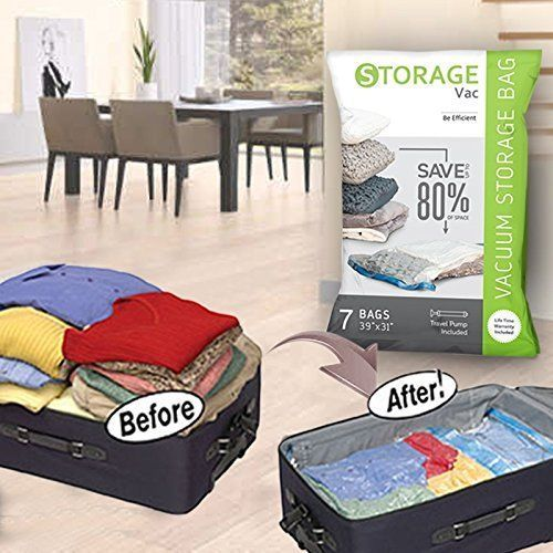 7 Durable Jumbo Vacuum Storage Bags E Saver Seal Clothes Organizer Pump Storagevac Customstyle