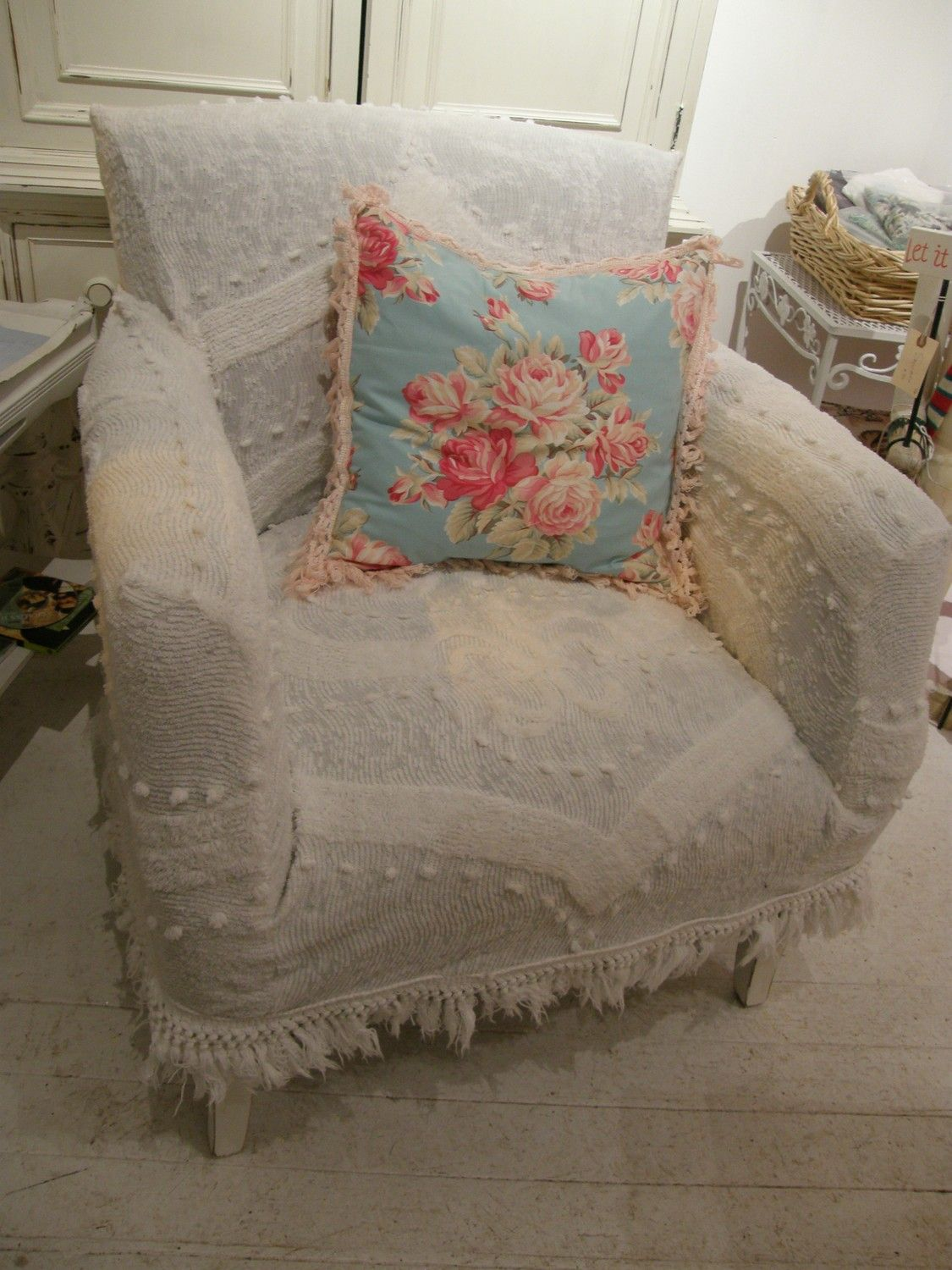 custom shabby chic chair s vintage chenille bedspread slipcover wingback club. $450.00, via Etsy.
