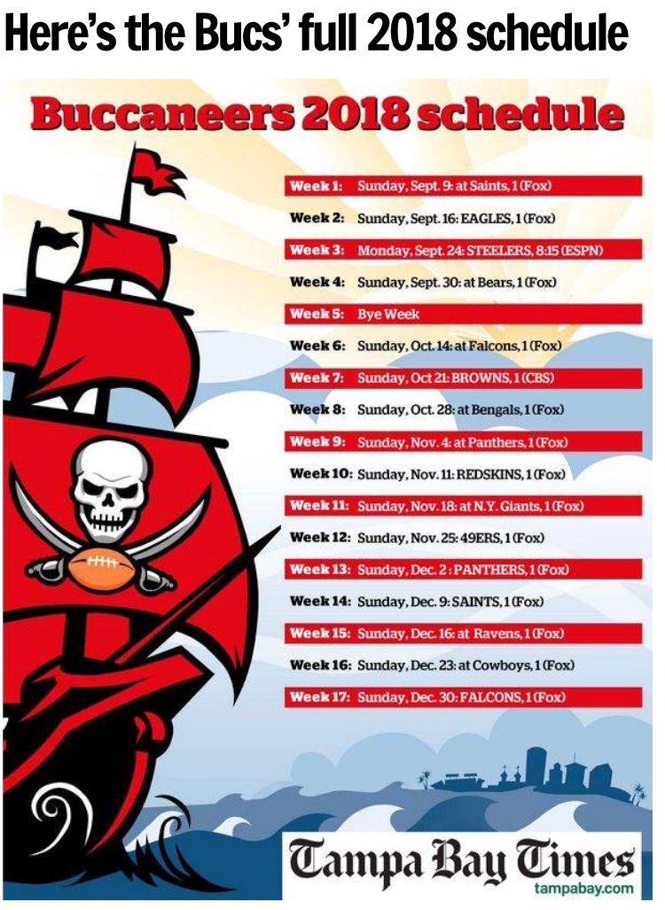 Bucs Football 🏈 2018 schedule Nfl football schedule