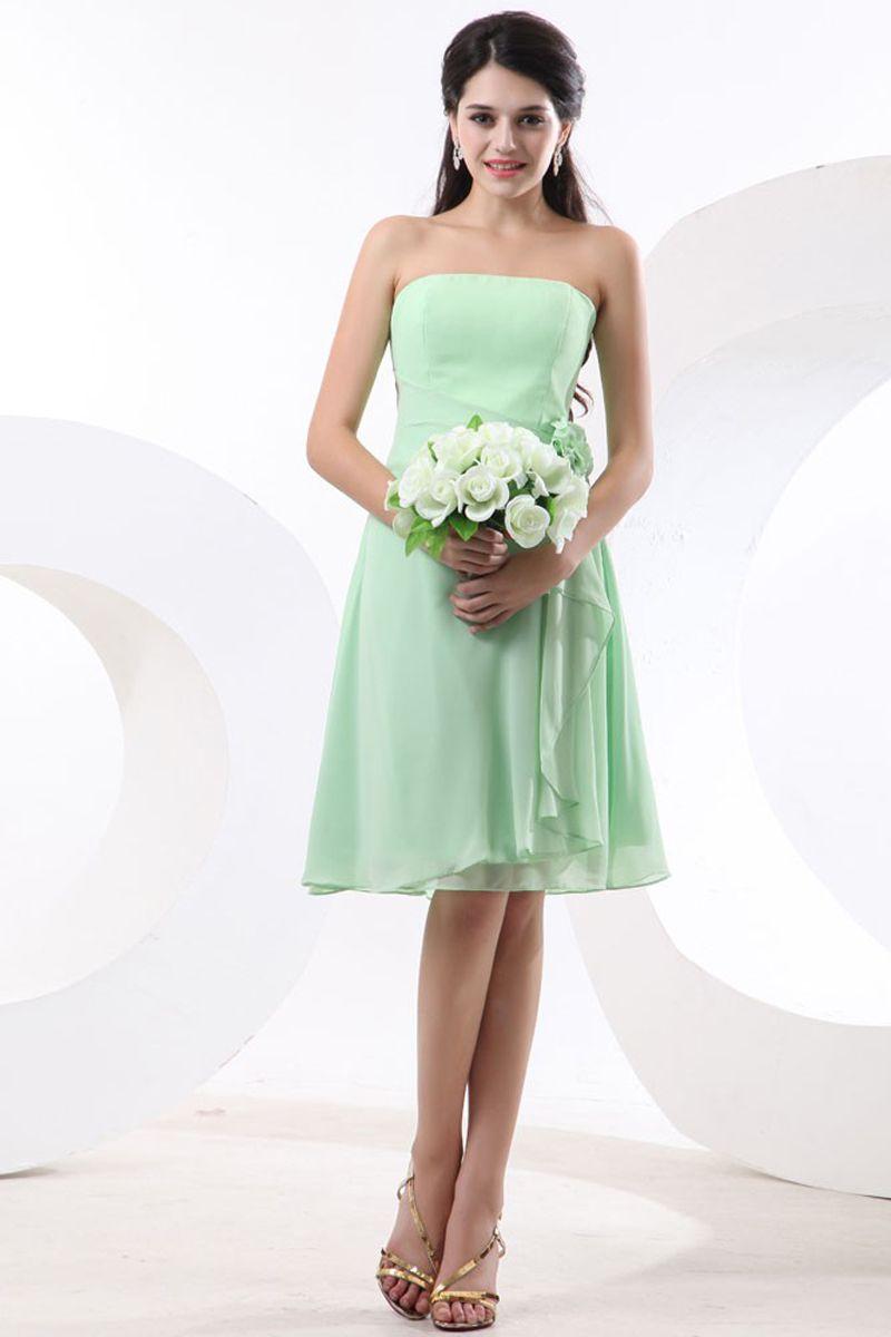 Aline strapless mint chiffon kneelength bridesmaid dress