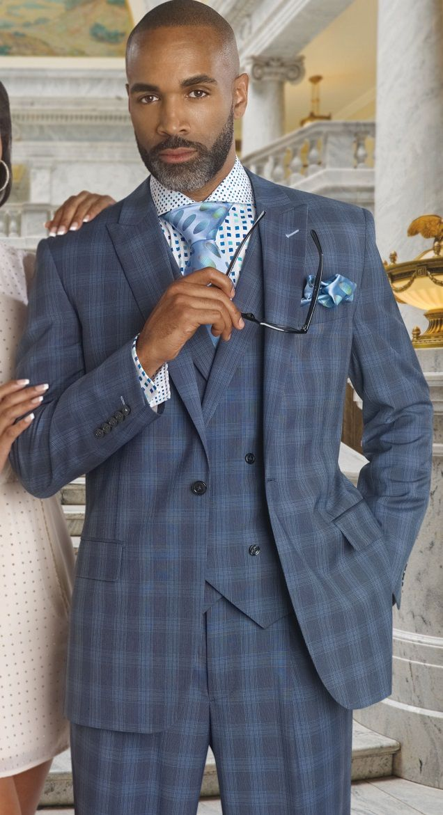 Steven Land Men's Blue Plaid DB Vest Suit Walter SL77-027 | Men ...