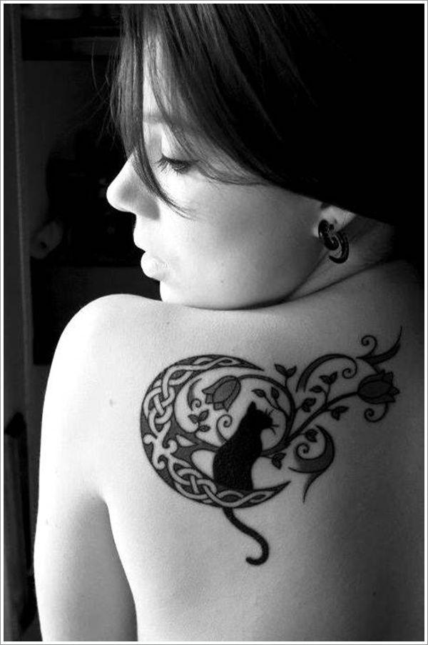 391850a56df15 Moon Tattoo Designs: Crescent Moon Tattoo Designs For Girl On Upper Back ~  Cvcaz Tattoo Art Ideas ~ Tattoo Design Inspiration