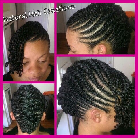 flat twists updo natural hair protective