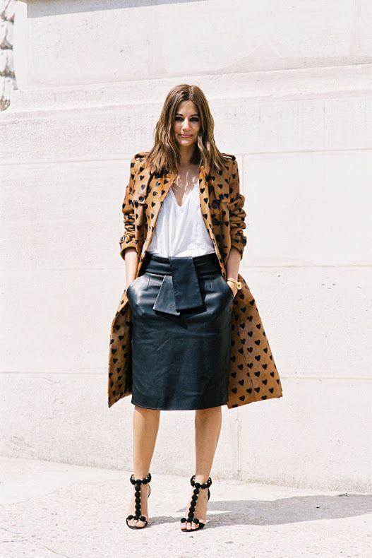 Vanessa Jackman: Paris Couture Fashion Week AW 2013  Christine Centenera of Vogue Australia looking chic in a heart printed trench, leather skirt, and Alaia heels.