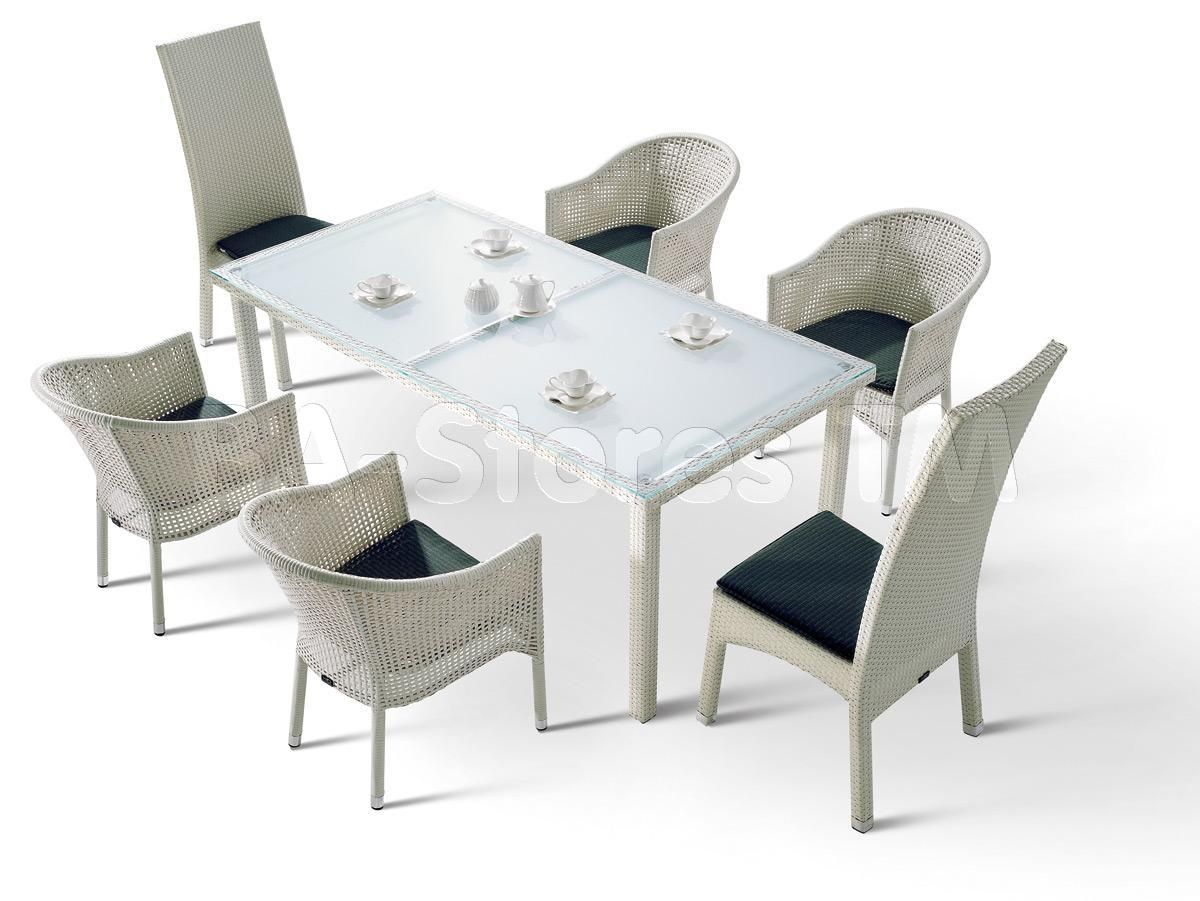 7 PC White Patio Dining Set (Table, 4 Chairs and 2 Armchairs) - VIG Furniture