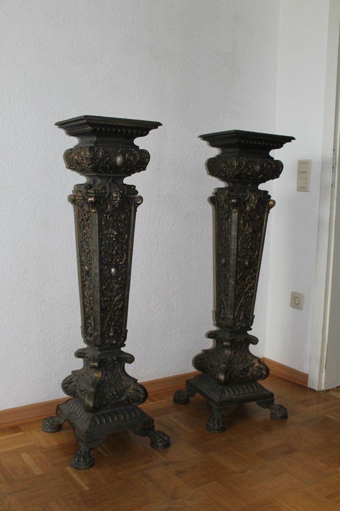 2 alte Metallsäulen,Postamente, Ständer Historismus