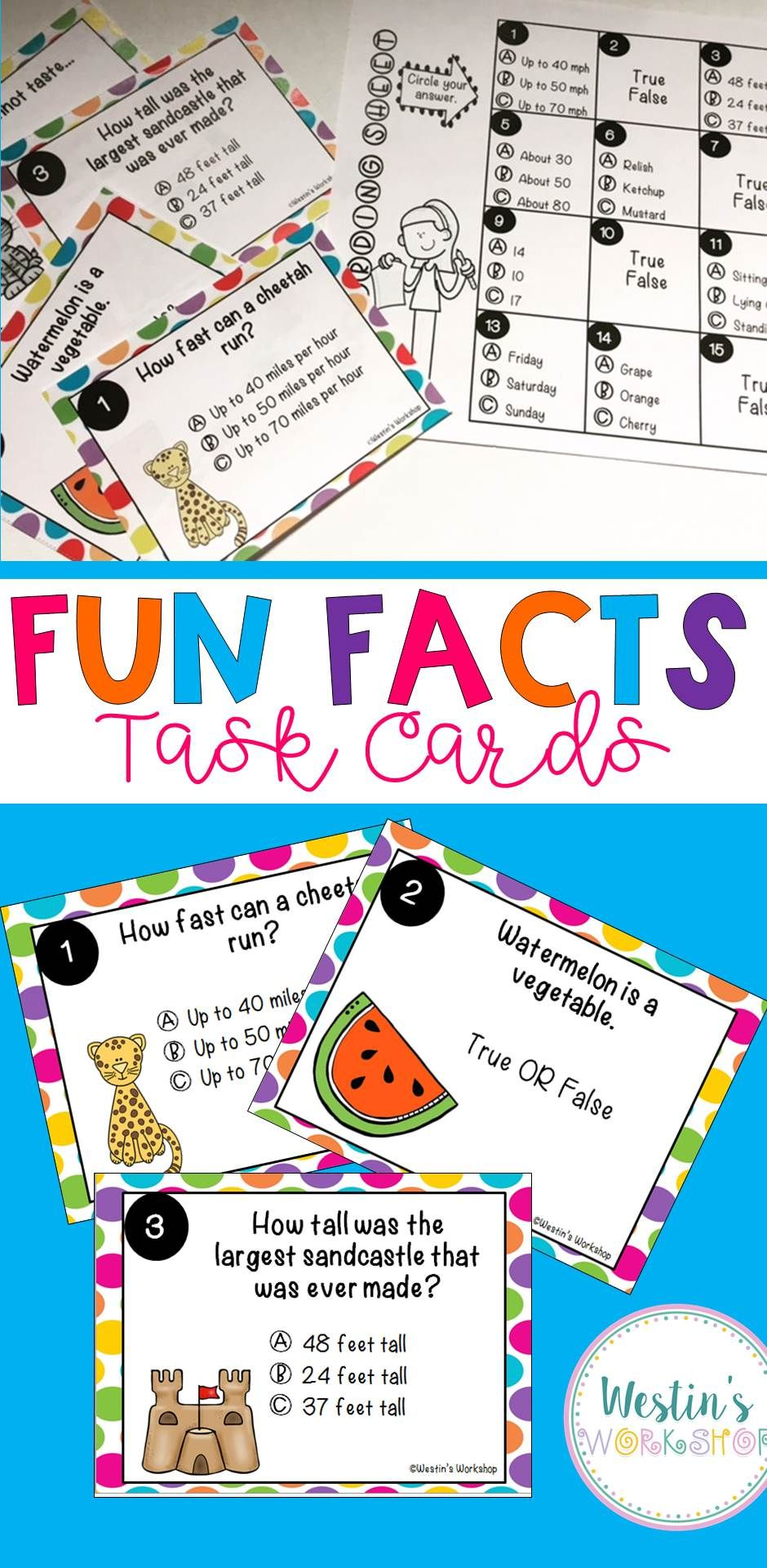 fun facts task cards reading activities and student centered