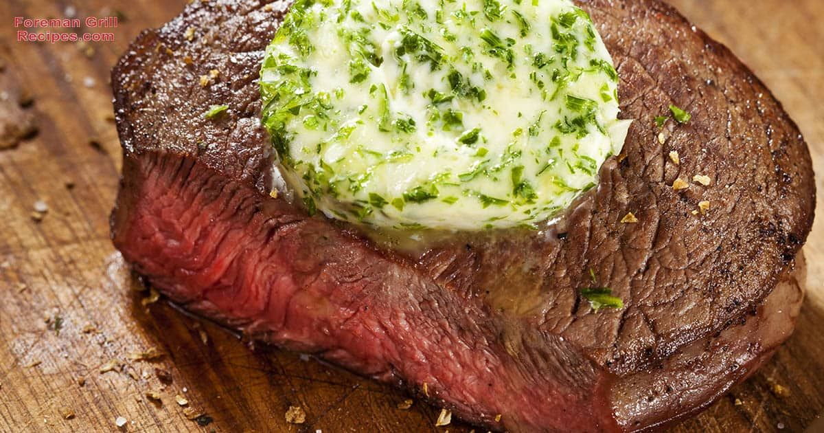 Easy Grilled Beef Steak with Garlic Butter Foreman Grill Recipe #beefsteakrecipe
