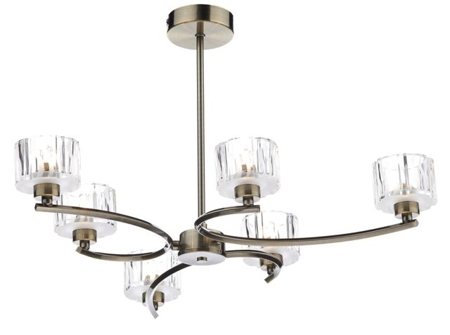 The Dar Lighting Laguna Range Includes A 6 Light Semi Flush Ceiling Pendant With Antique