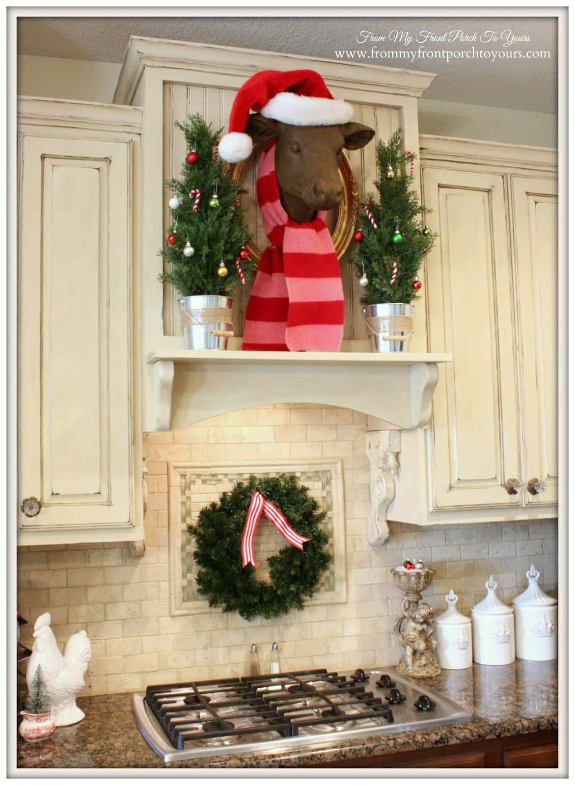 Bessie The Cow With Scarf French Farmhouse Christmas Kitchen From My Front Porch