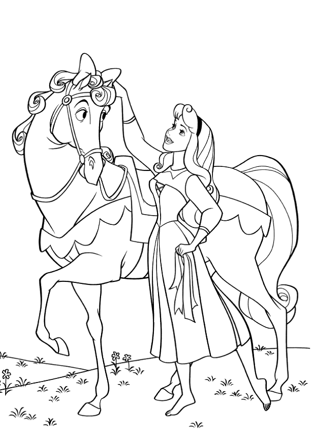 Aurora Dresses Up He Horse Coloring Pages | Princesas Disney ...