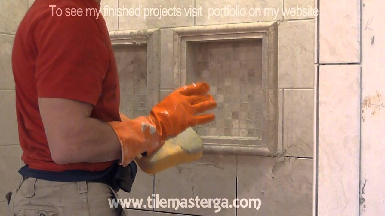 """Part """"6"""" How to apply grout on shower wall tiles DIY"""
