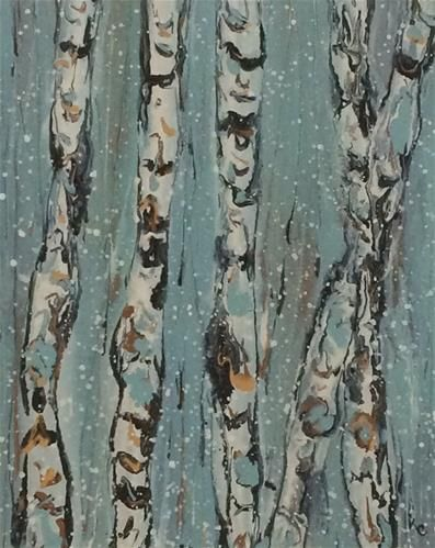 """Daily Paintworks - """"Flurries #5 by Kimberly Conrad"""" - Original Fine Art for Sale - © Kimberly Conrad"""