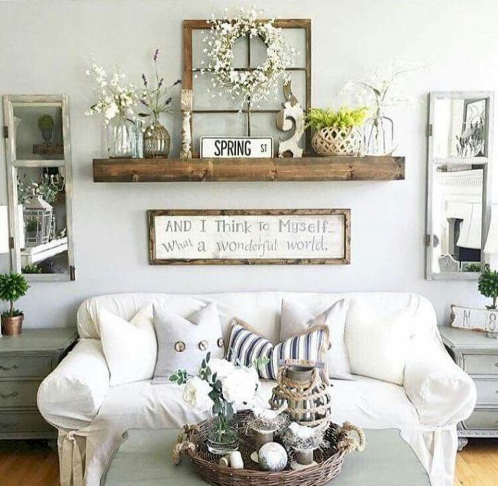 Adorable Cozy And Rustic Chic Living Room For Your Beautiful Home Decor Ideas 110 Wall Decor Living Room Room Wall Decor Farm House Living Room