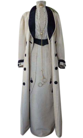 Edwardian two piece walking suit. The suit consists of a long length skirt with early hook & eye closure in back. Unusual abstract pleating with decorative silk fabric button with toggle style looping. Matching full length, duster style jacket with navy blue silk boater style lapels. Designed with a diagonal pattern to grace each coat side. Decorated with matching toggle style buttons. #edwardianperiod