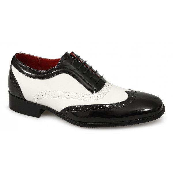 Mens Fancy Dress Spats Gangster Italian Brogue Patent Formal Shoes .