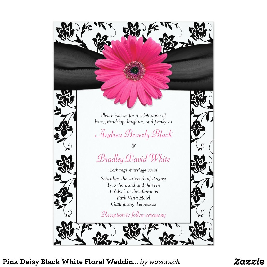 Pink Daisy Black White Floral Wedding Invitation | Pink daisy ...
