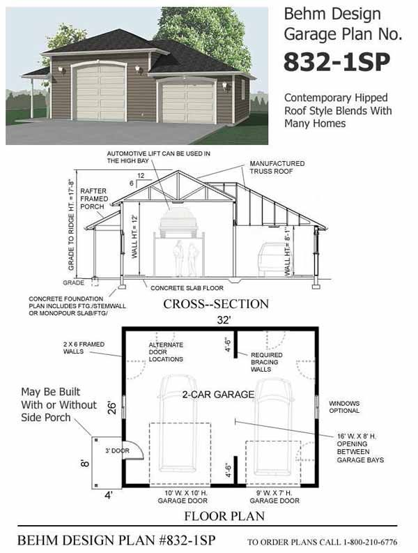 High bay combo 2 car garage plan 832 1sp with side porch for Garage plans with lift
