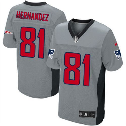 3f36650e8 Mens Nike New England Patriots  81 Aaron Hernandez Elite Grey Shadow NFL  Jersey