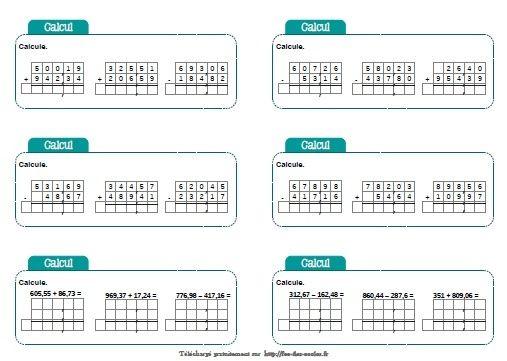Chronofiches : addition et soustraction de nombres ...