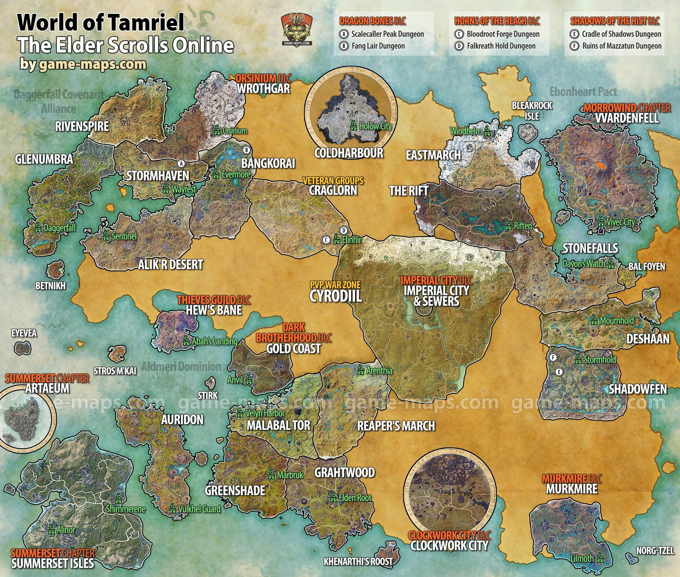 World Map of Tamriel for The Elder Scrolls Online (ESO ...