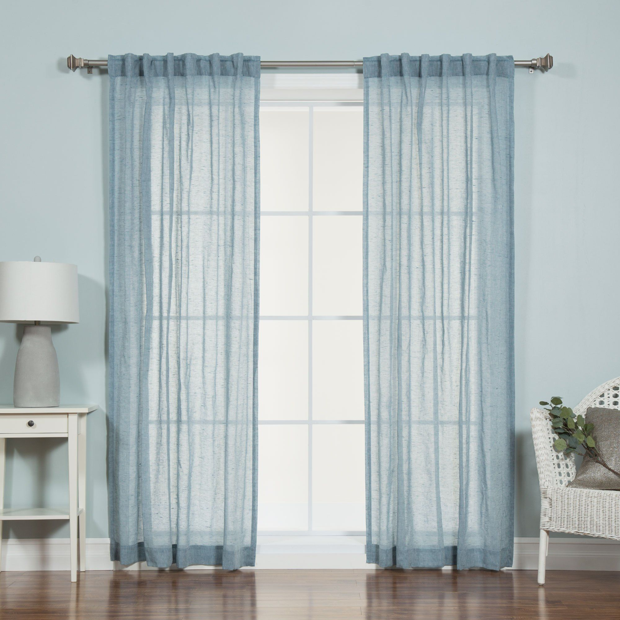 Best home fashion faux pippin linen sheer curtain back tab rod