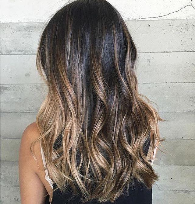 Sunkissed balayage, dark brown hair color balayagehair balayagehighlights  brownhair